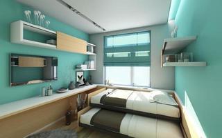 tonårings arbetsrum och sovrum foto