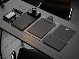 uppsättning mockup-element på träbordet. 3d framför foto
