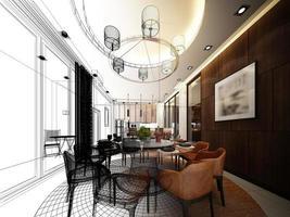 abstrakt skiss design av interiör matsal foto