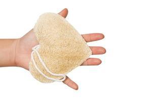 användning av loofah badpuff för rengöring av huden foto