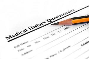 frågeformulär för medicinsk historia foto