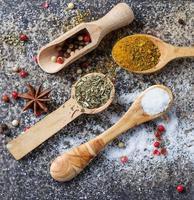 olika typer av kryddor i träsked foto