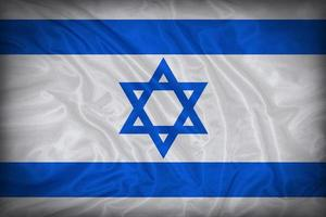 Israel flagga mönster på tyg textur, vintage stil foto