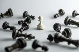 schackfigur, affärsidéstrategi, ledarskap, team och framgång foto