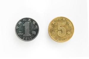 framsidan av mynt för 1 och 5 jiao i porslin foto