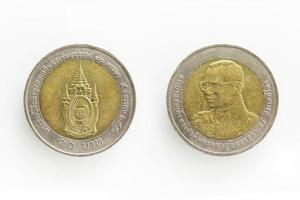 specialmynt för 10 baht i Thailand foto