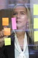 kvinna tittar på anteckningar i fönstret foto