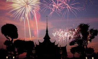 wat arun under firandetid för nytt år, Thailand foto