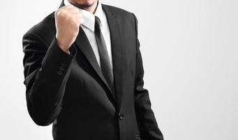 affärsman agerar finish från hans prestanda foto