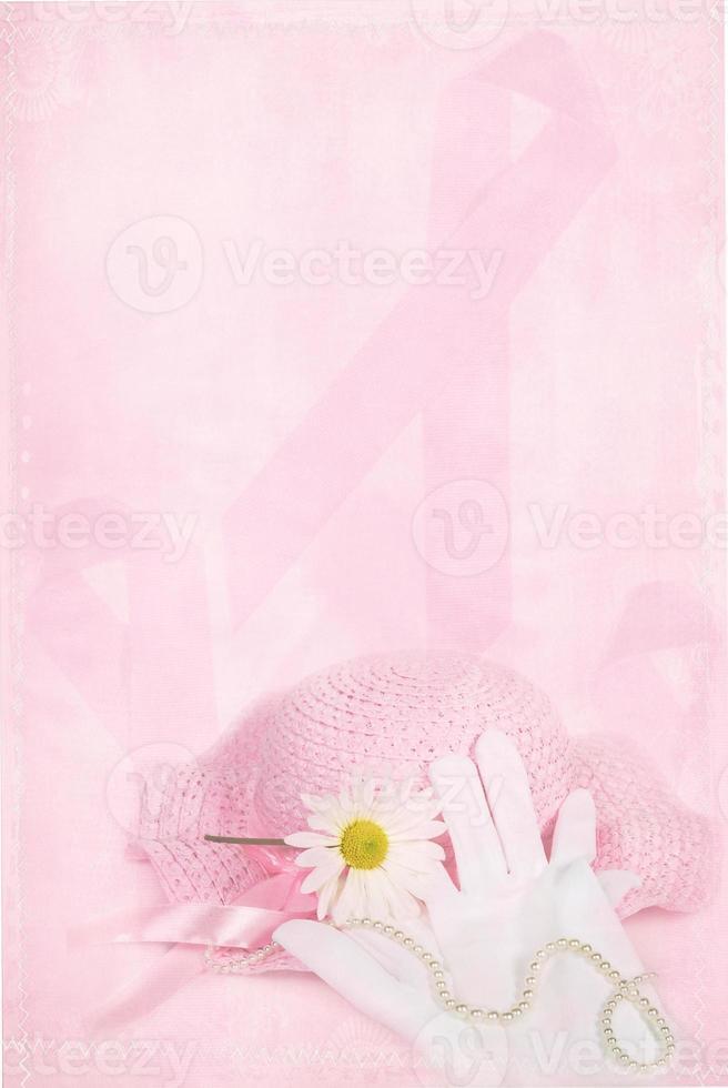 roze lint met handschoenen en muts foto