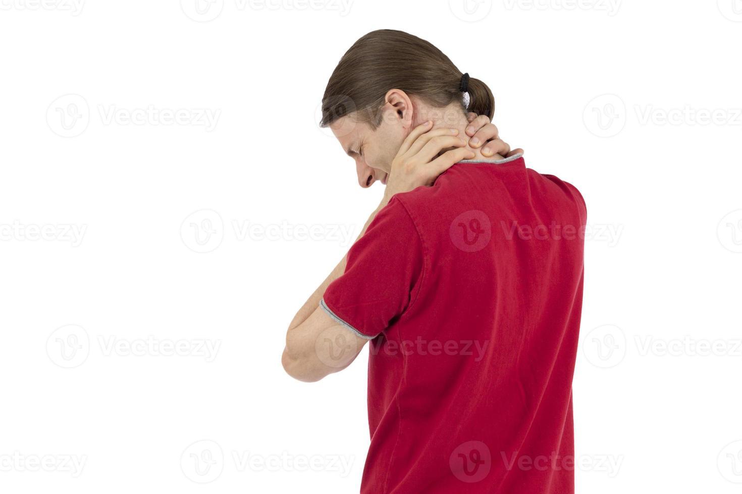 man met een gespannen nek foto