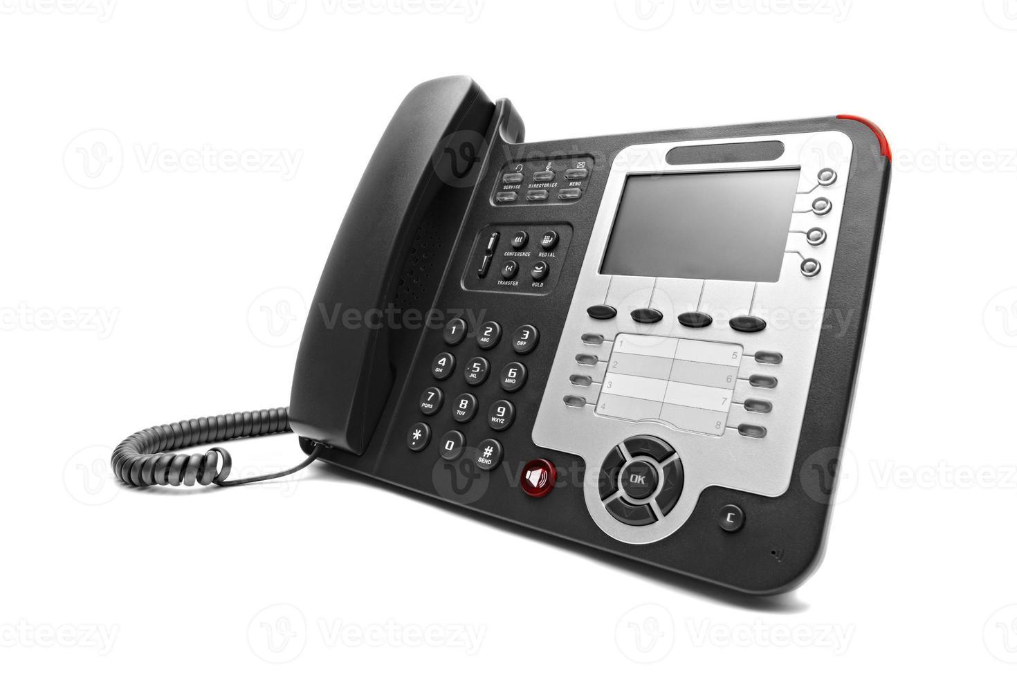 zwarte ip kantoor telefoon geïsoleerd foto