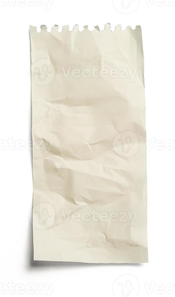 verfrommeld vel papier op een witte achtergrond foto