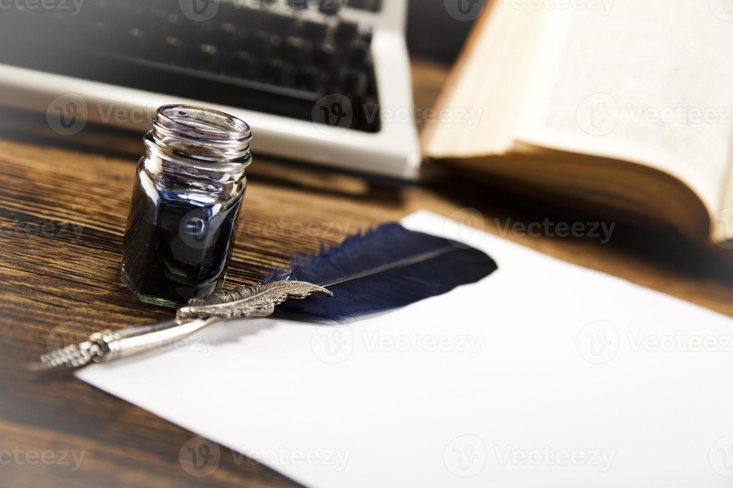 oud papier, pen foto
