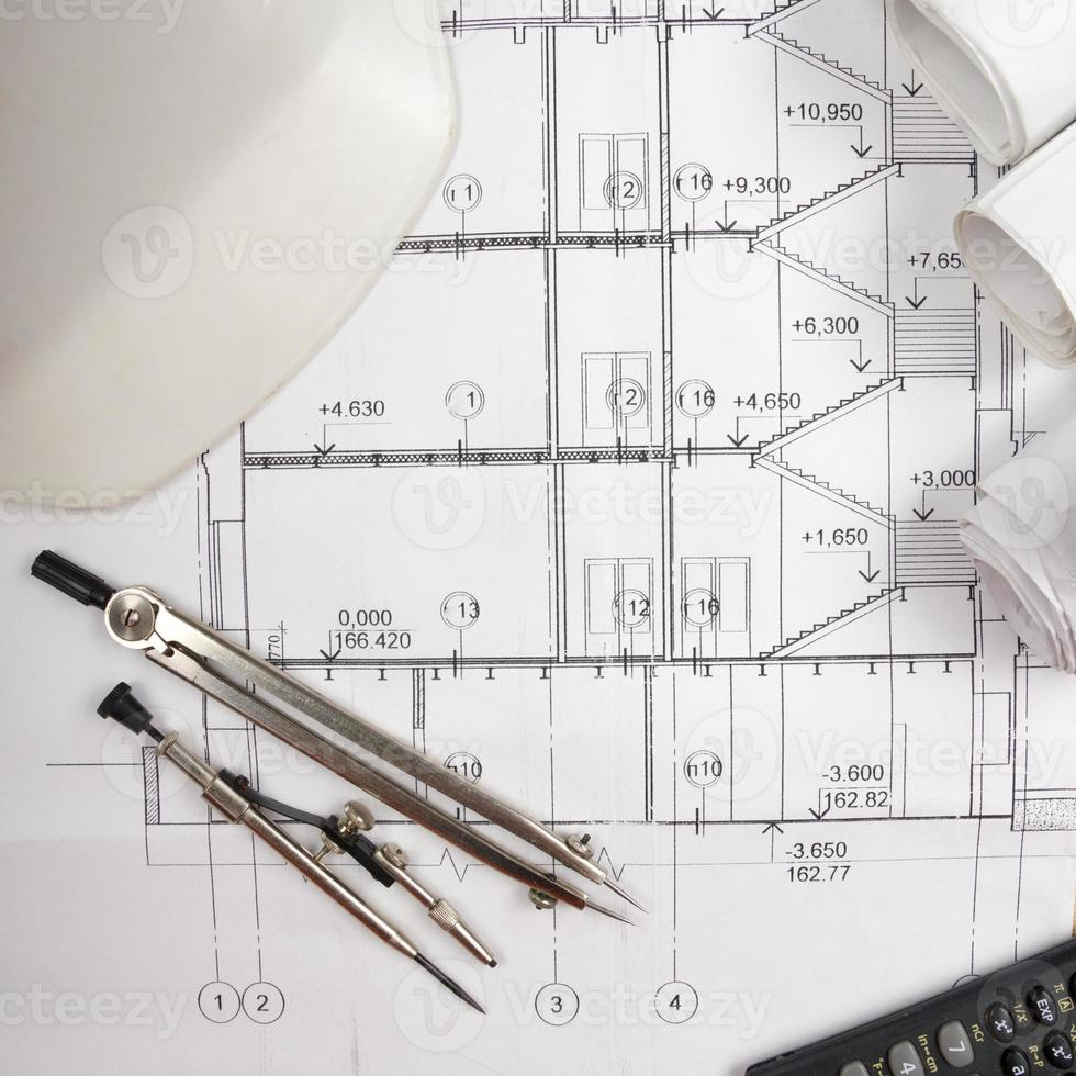architectonisch project, blauwdrukken. technische hulpmiddelen foto