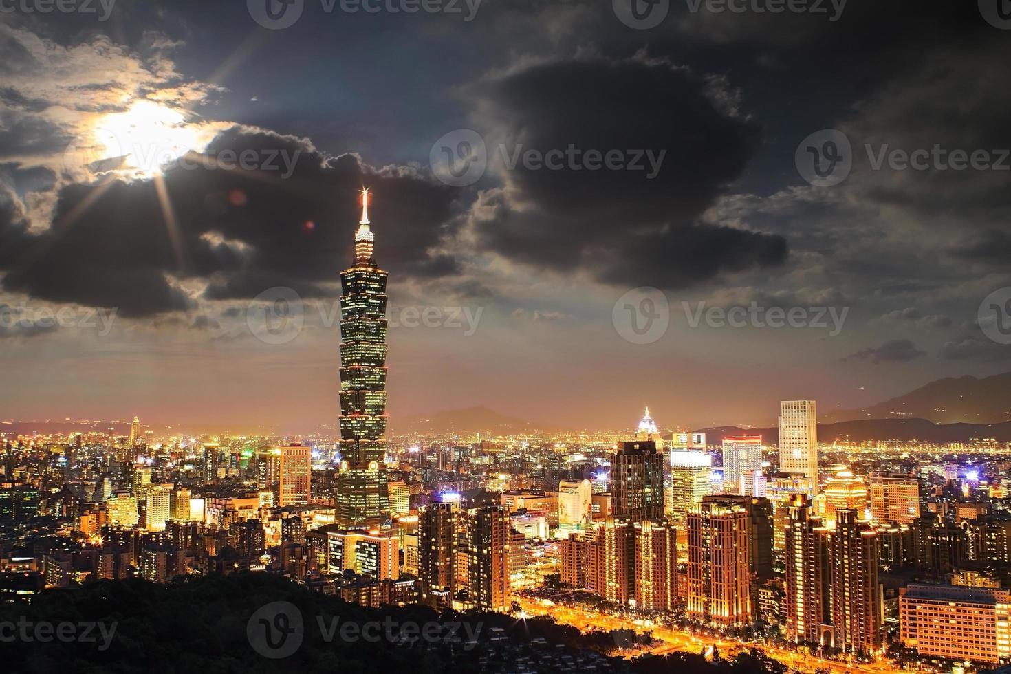 volledig zicht op de stad taipei foto