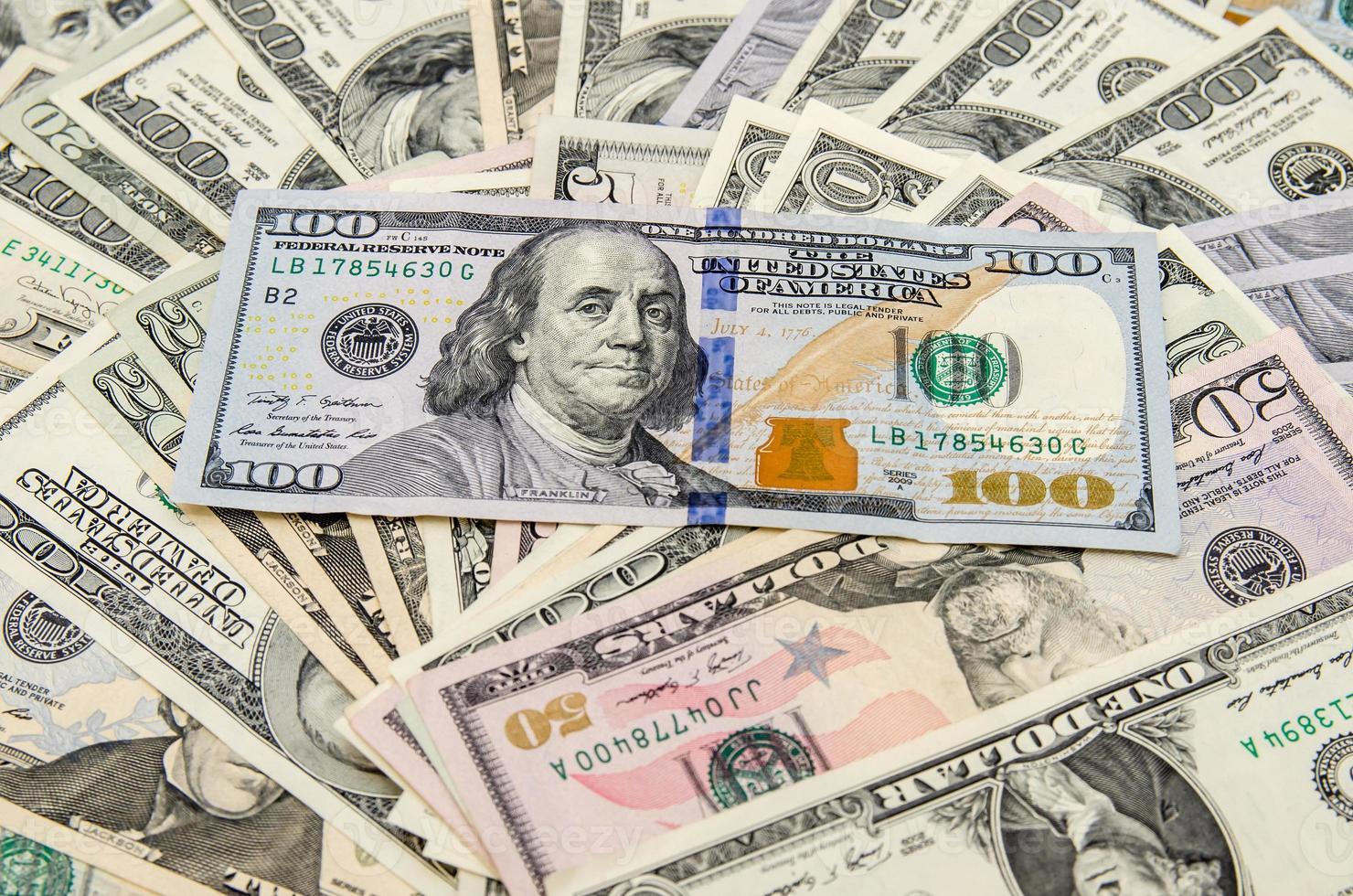 bankbiljetten van dollars als achtergrond foto