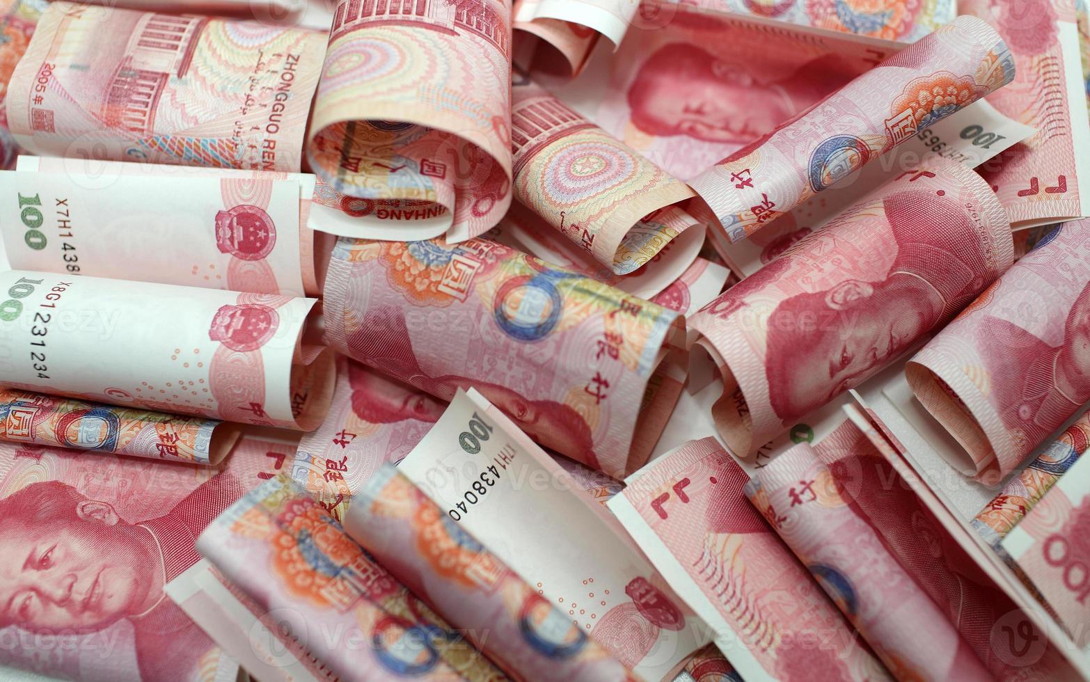 Chinese yuan geld 100 rmb achtergrond knoeien foto