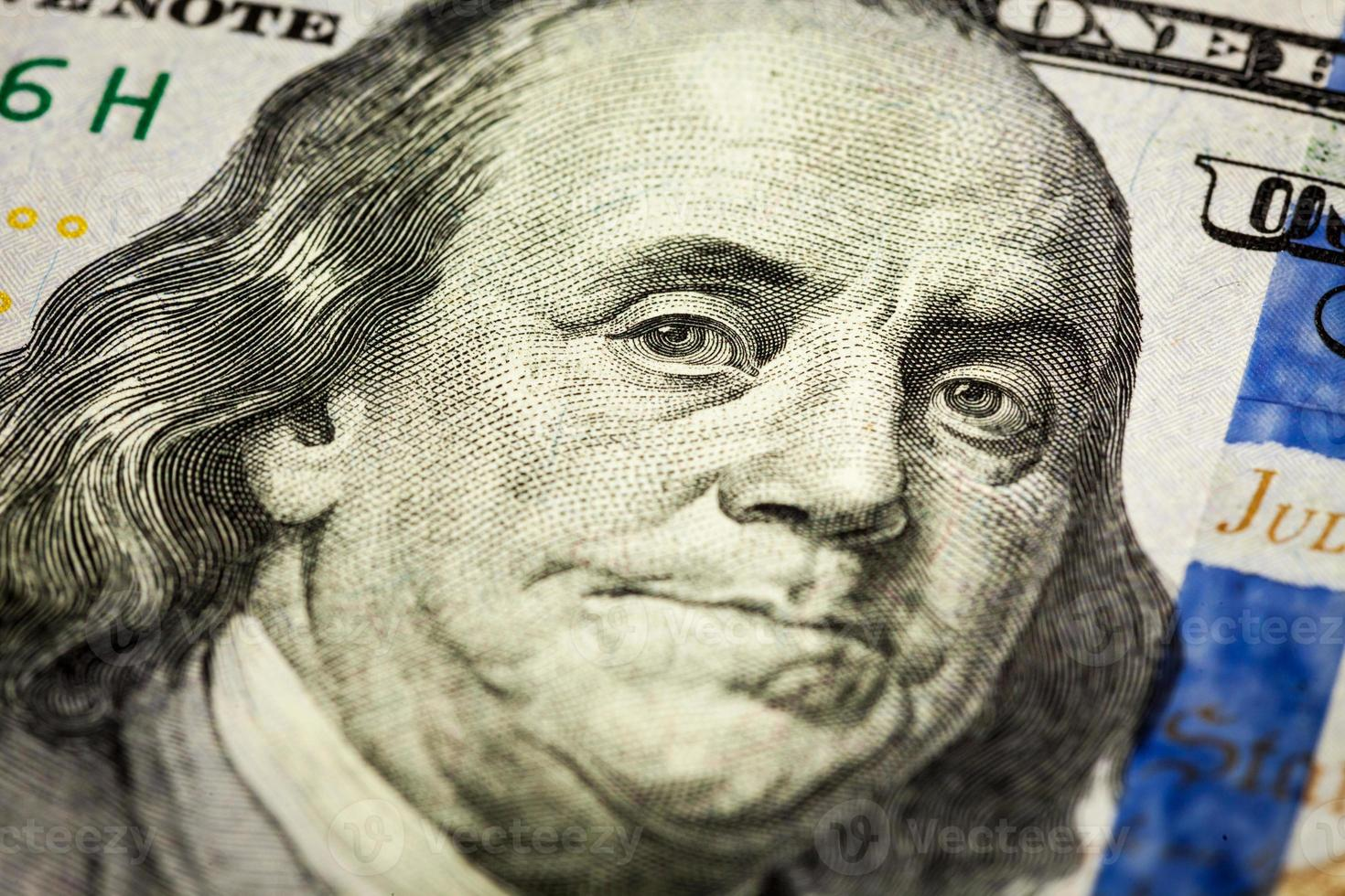 Benjamin Franklin portret macro-opname van 100 factuur foto
