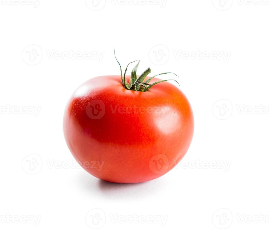 verse rode tomaat met groene stengel foto