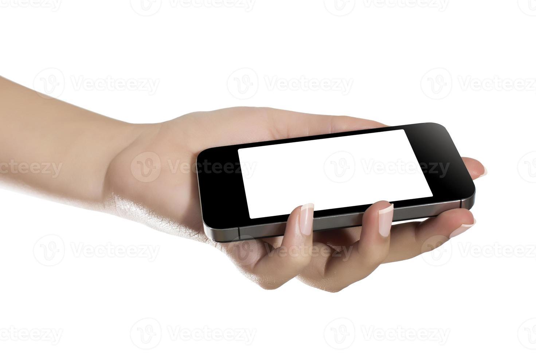hand met mobiele telefoon foto