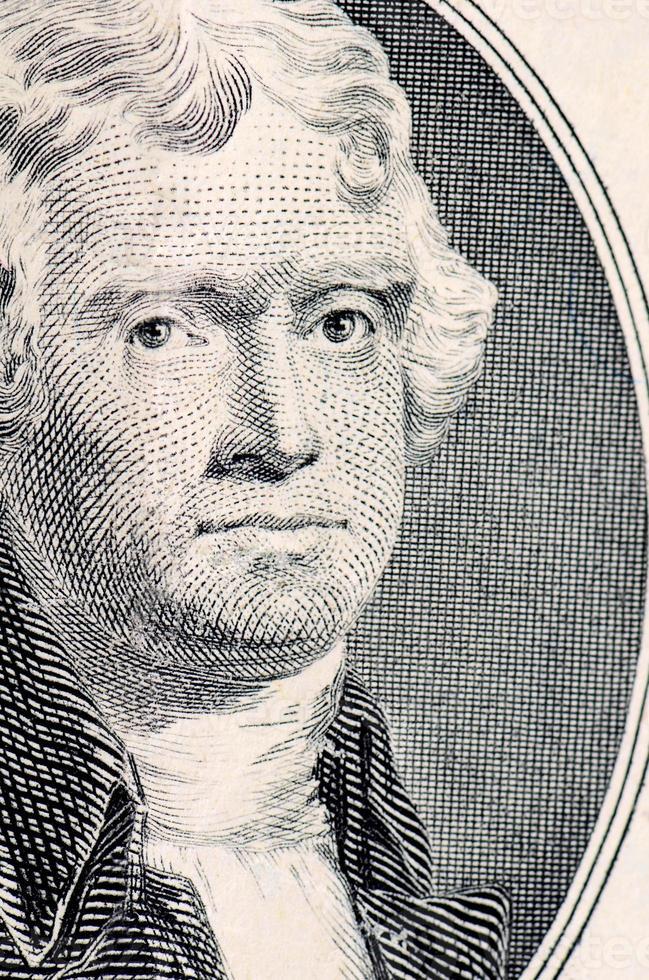het gezicht van Jefferson de macro van de dollarrekening foto