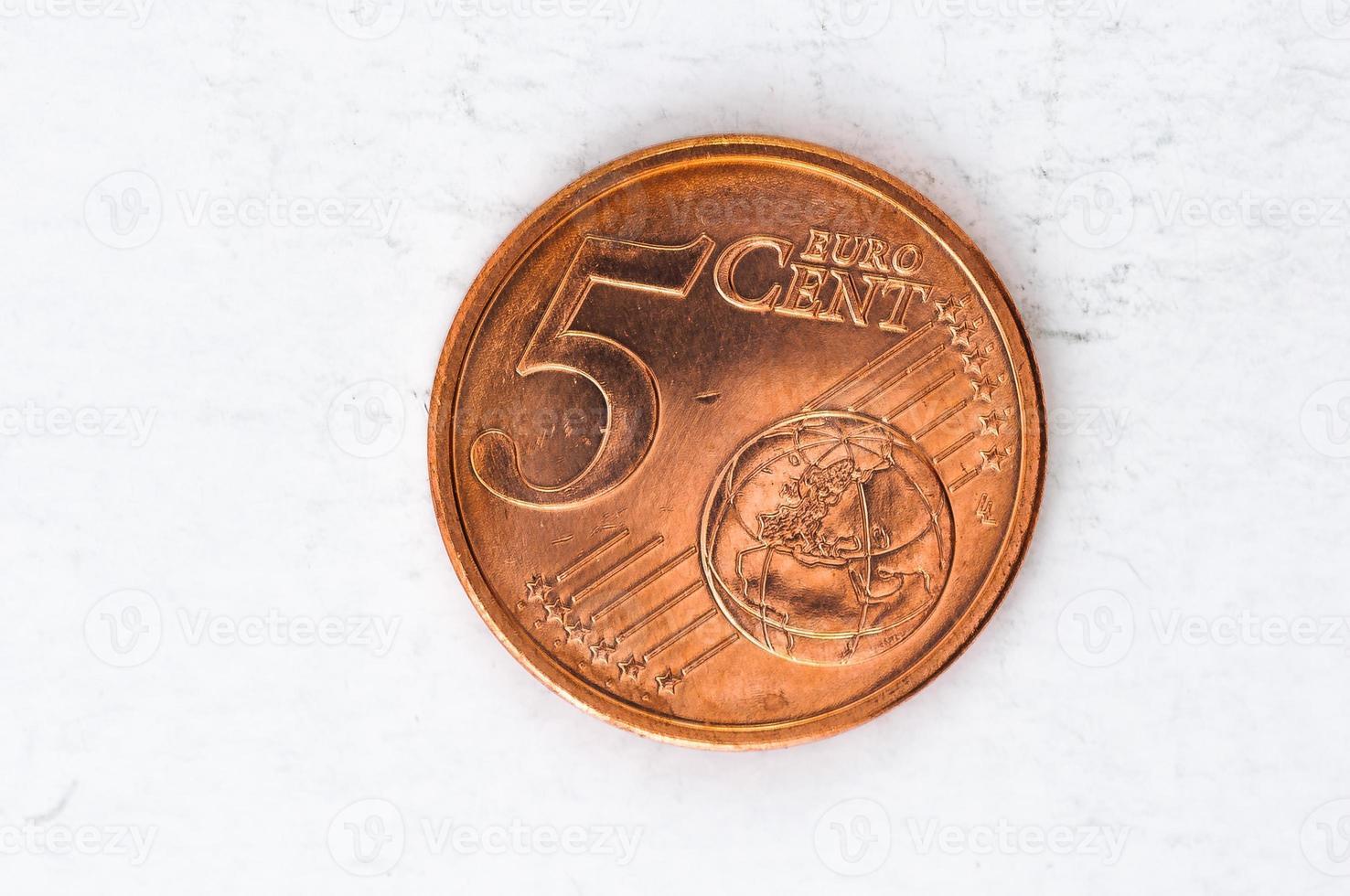 Munt van 5 eurocent met gebruikte voorkant foto