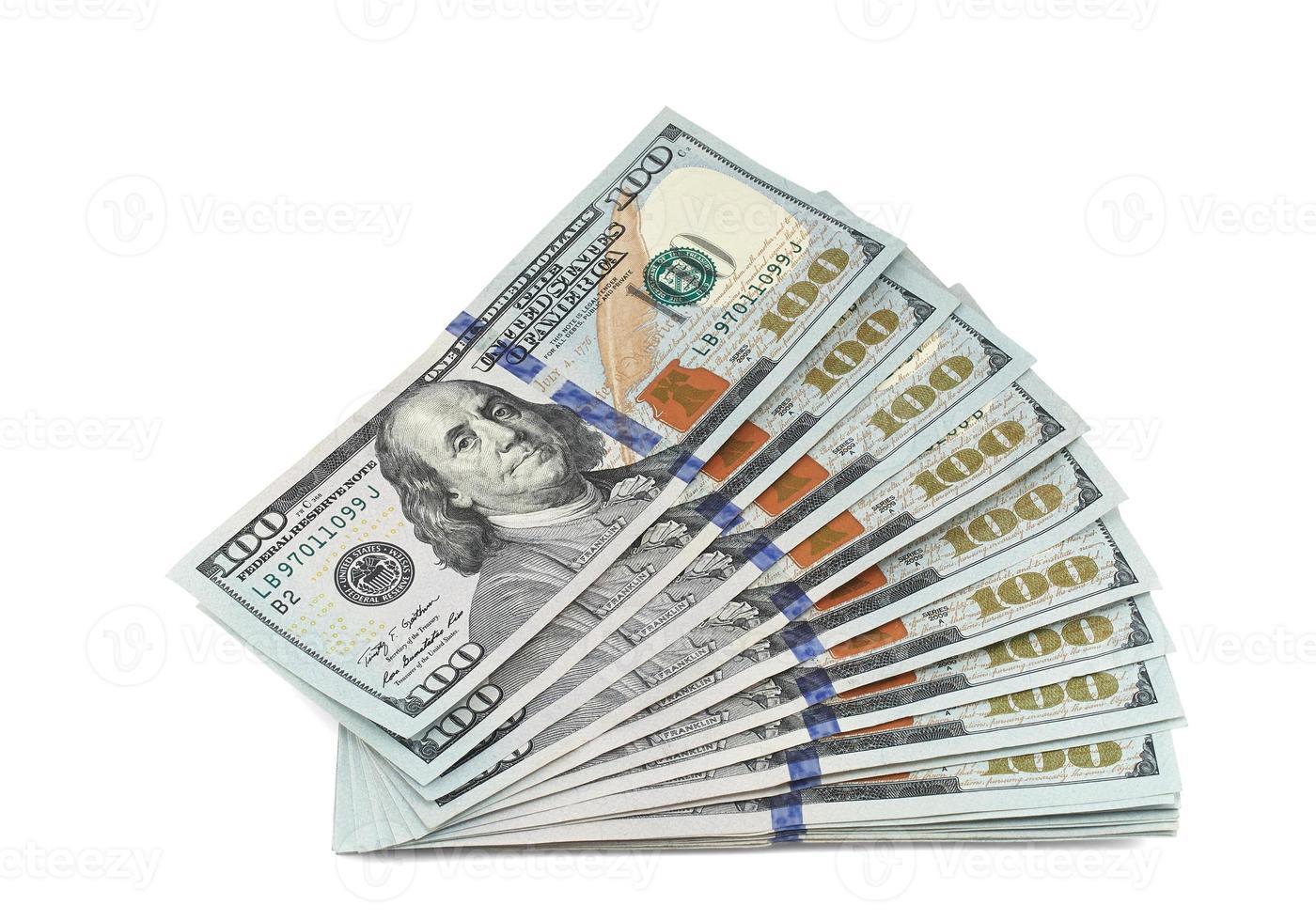 stapel nieuwe 100 dollarbiljetten foto
