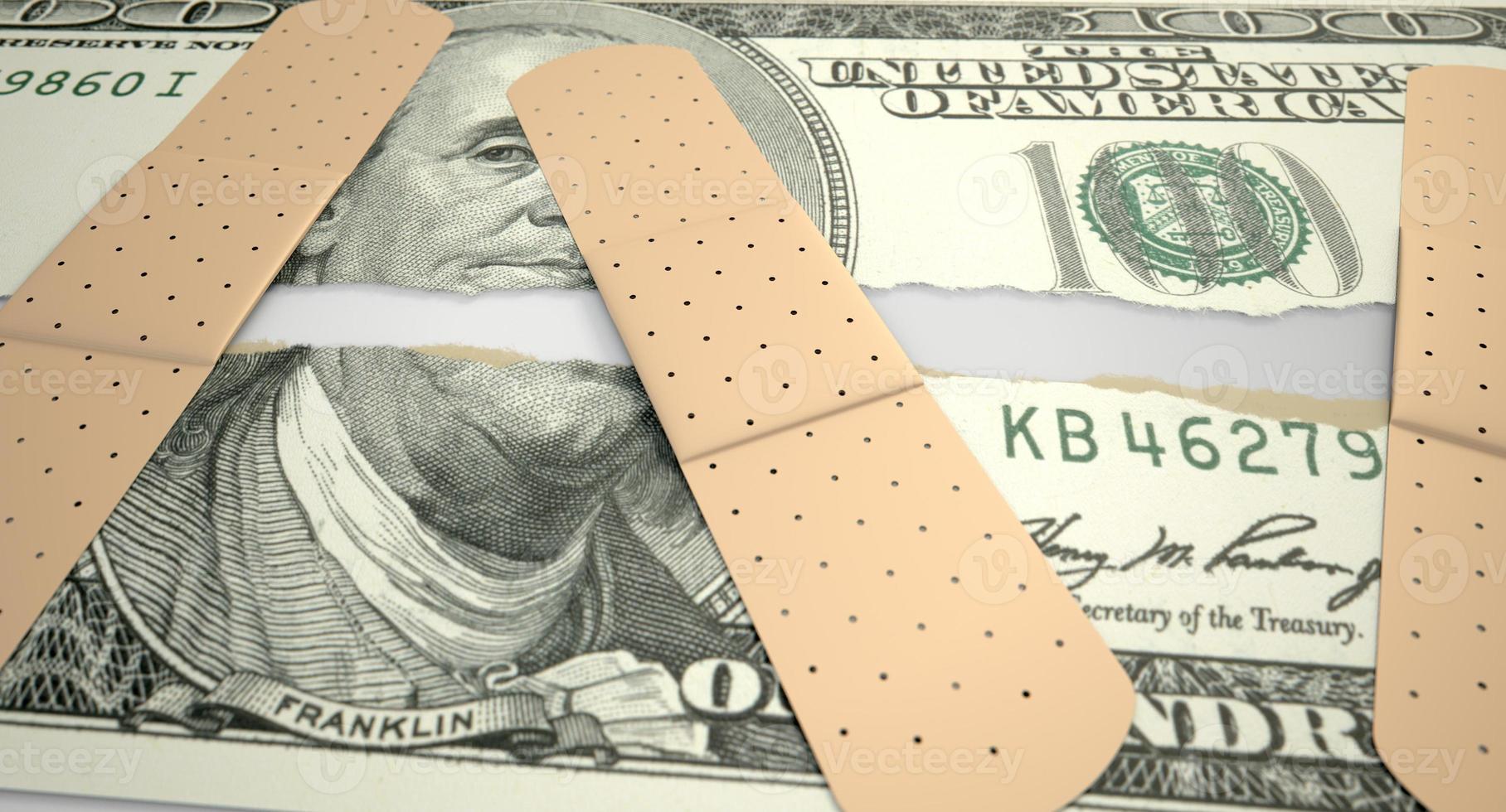 verzorgde verscheurde ons dollar foto