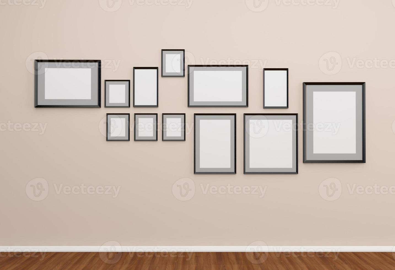 groep fotolijsten op de muur. foto