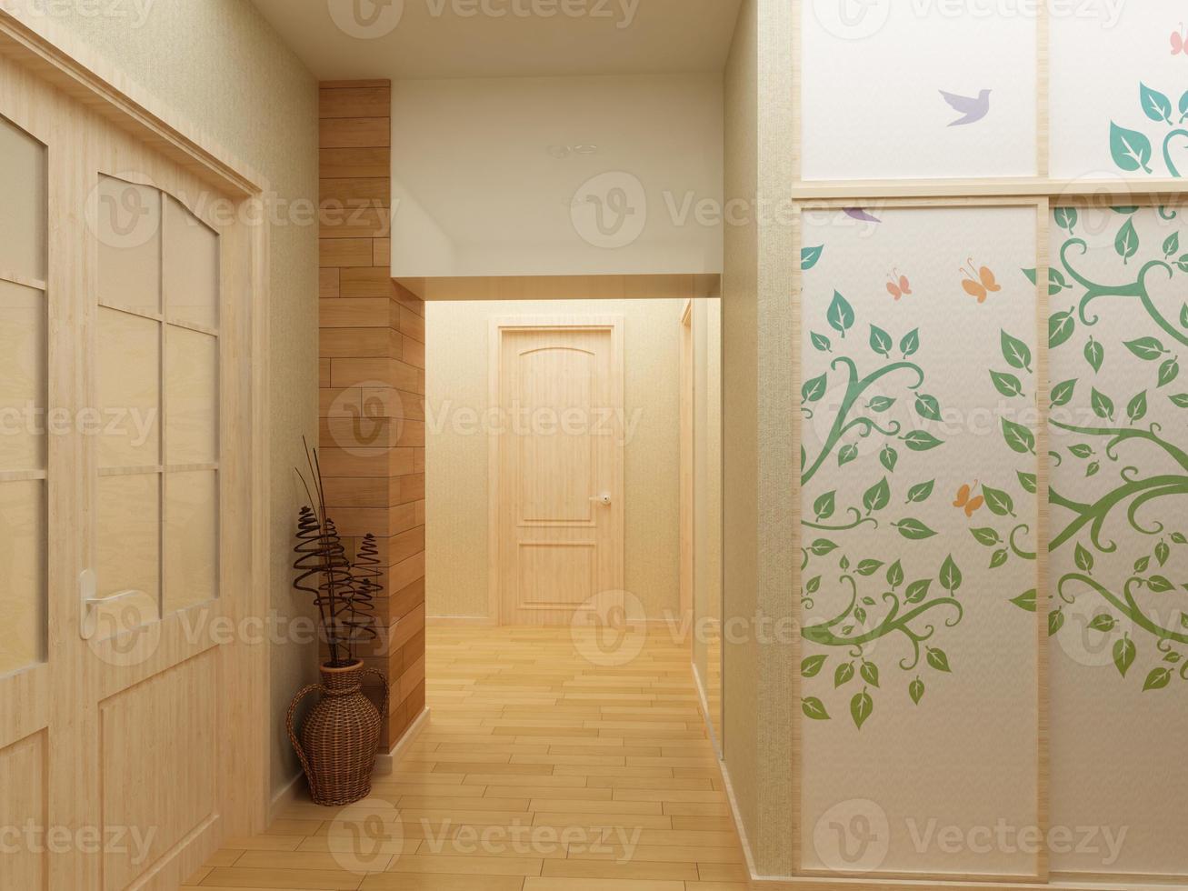 modern design interieur van hal, gang. 3D render foto