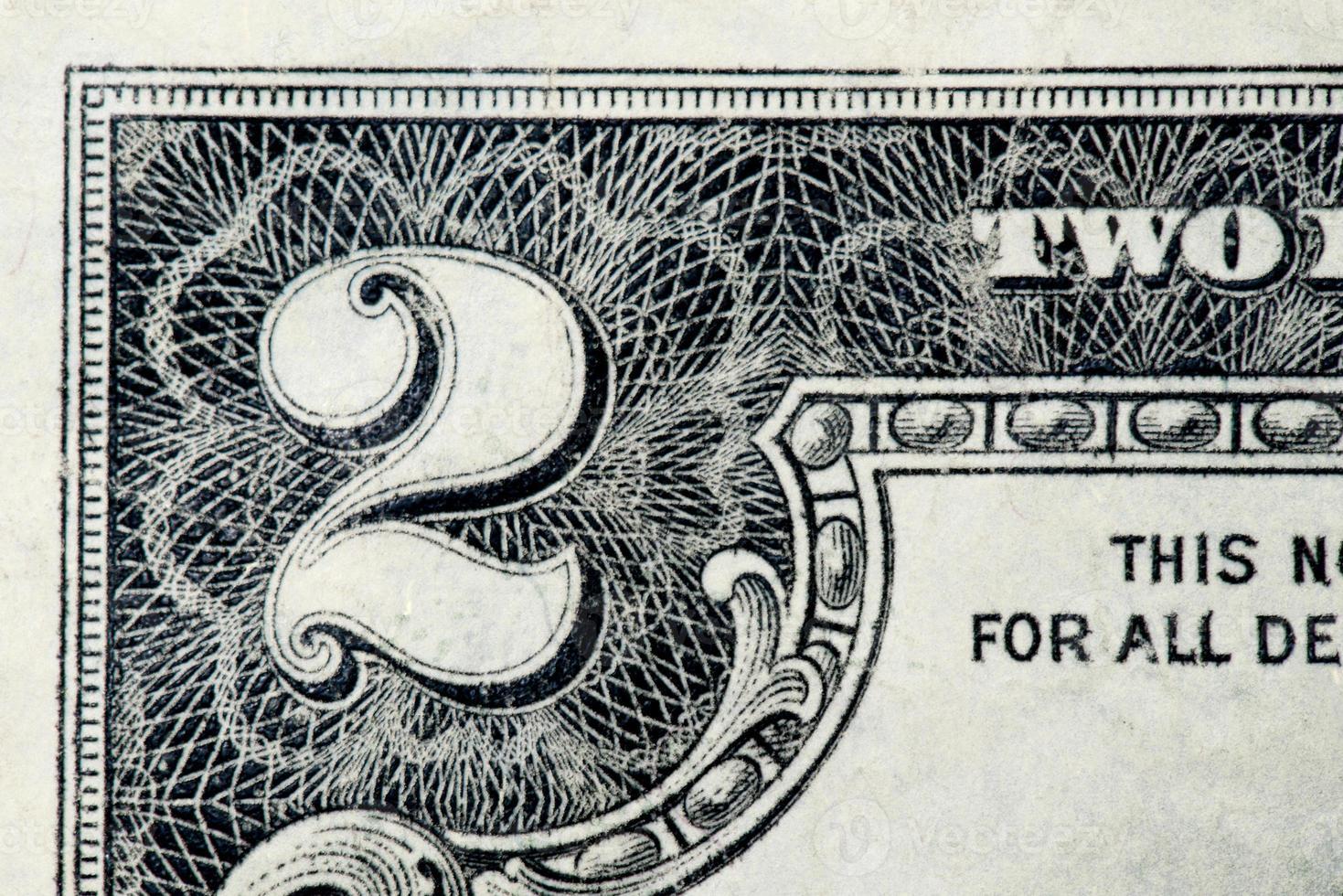 twee dollarrekening - sluit omhoog foto
