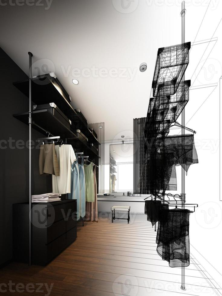 abstract schetsontwerp van binnenloopkast foto