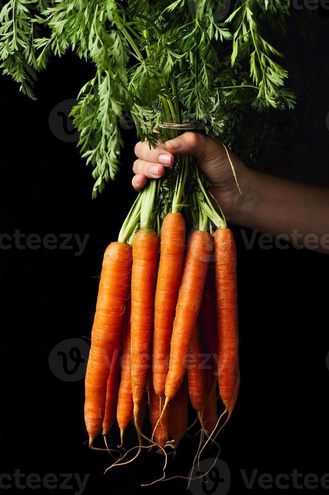 wortelen in de hand foto