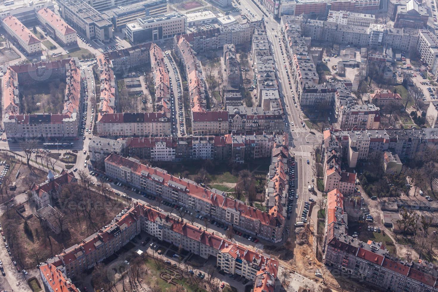 luchtfoto van het centrum van wroclaw foto
