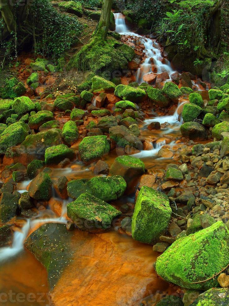 cascades in snelle stroom van mineraalwater. ijzerhoudende sedimenten foto
