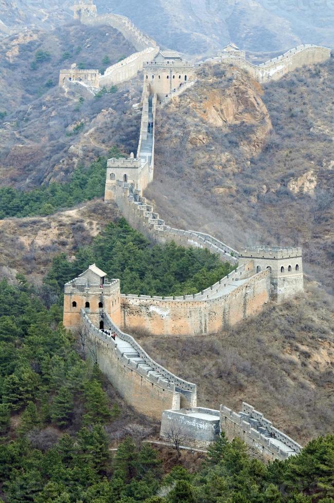 grote muur van china met heldere hemel foto