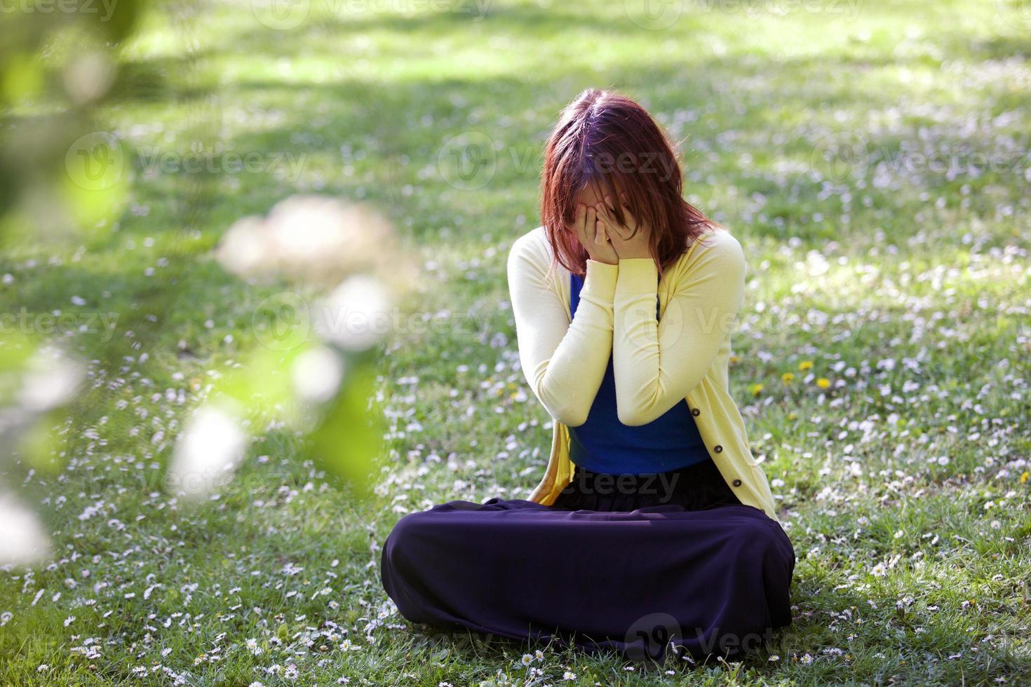 trieste, depressieve vrouw foto