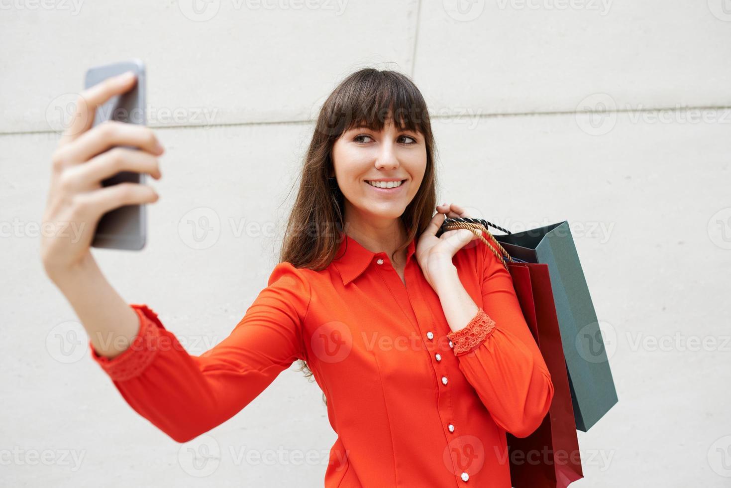 selfie met aankopen foto