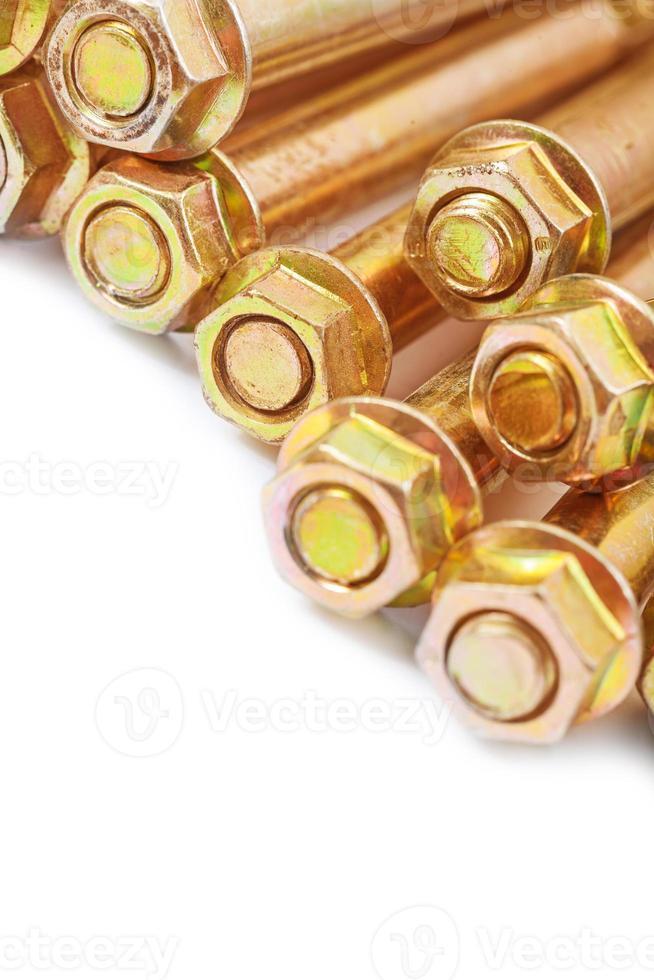metalen goudkleurige ankers op wit wordt geïsoleerd foto
