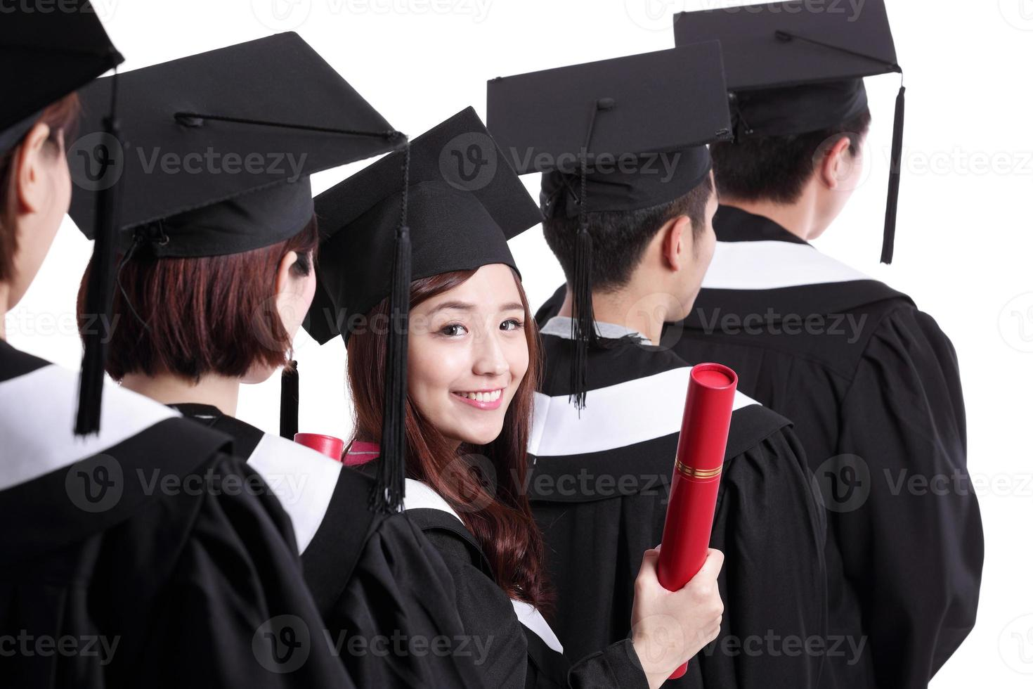 groep gelukkige afgestudeerden foto
