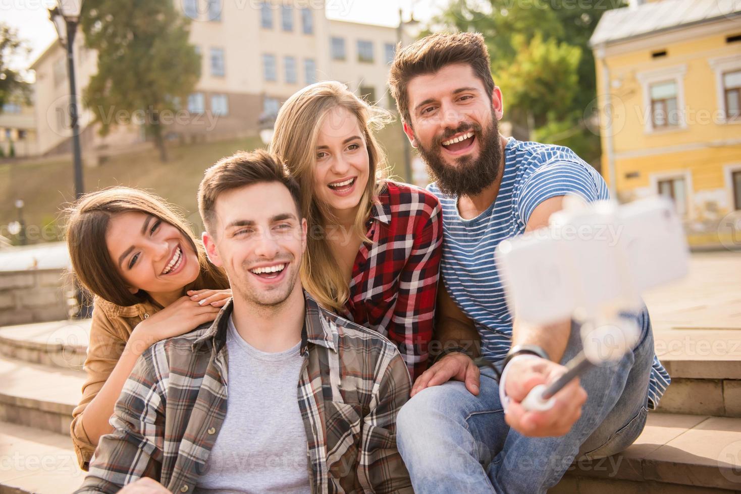 vrienden buitenshuis foto