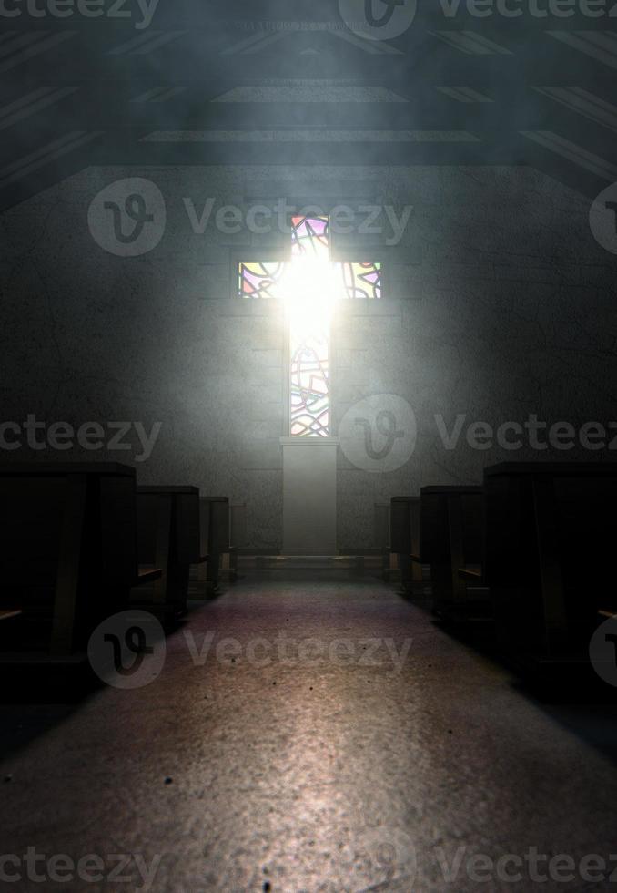 glas in lood raam kruisbeeld kerk foto