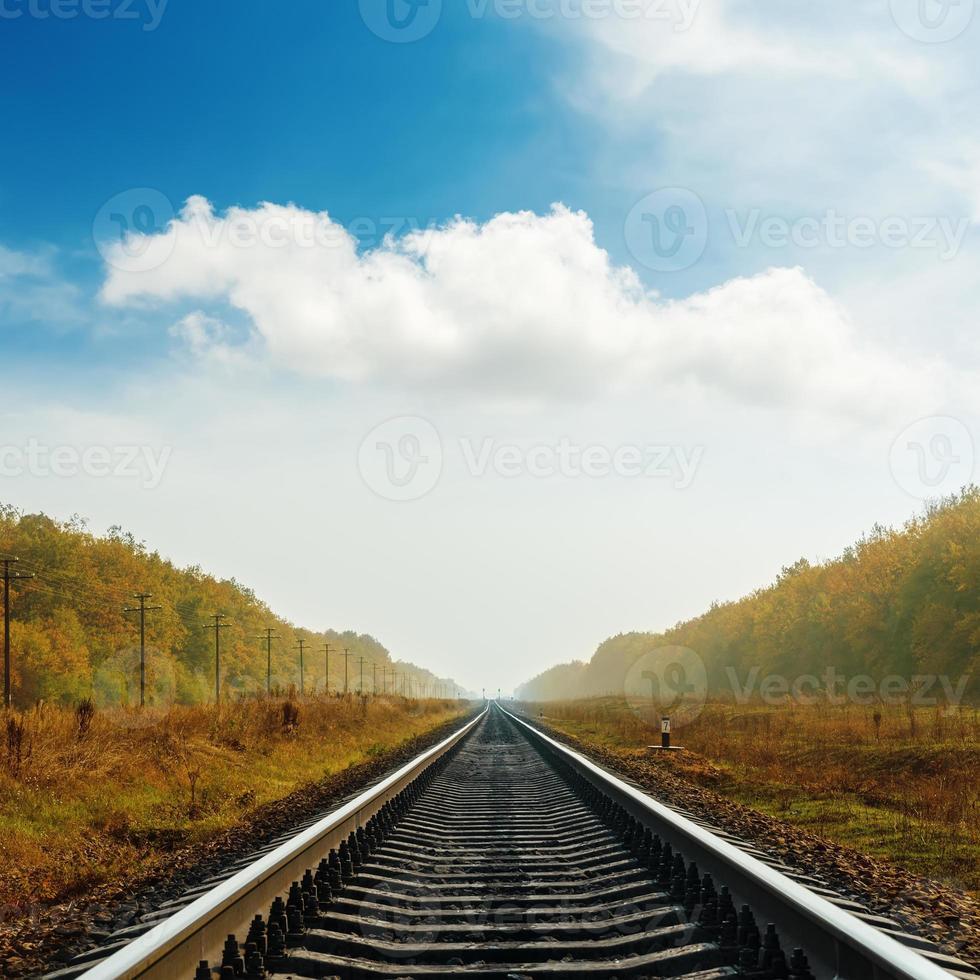 spoorweg naar horizon in de herfst foto