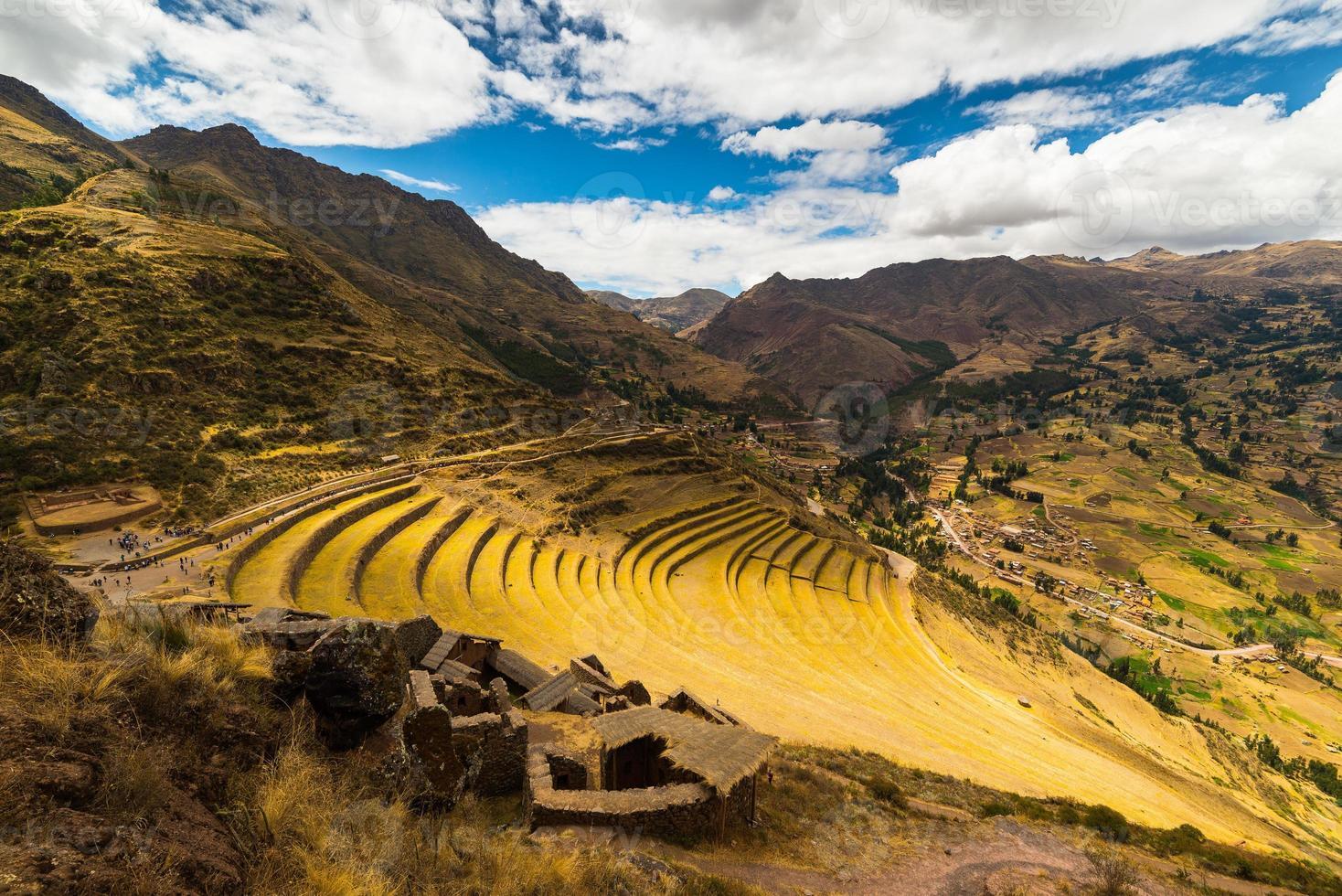 inca's terrassen in pisac, heilige vallei, peru foto