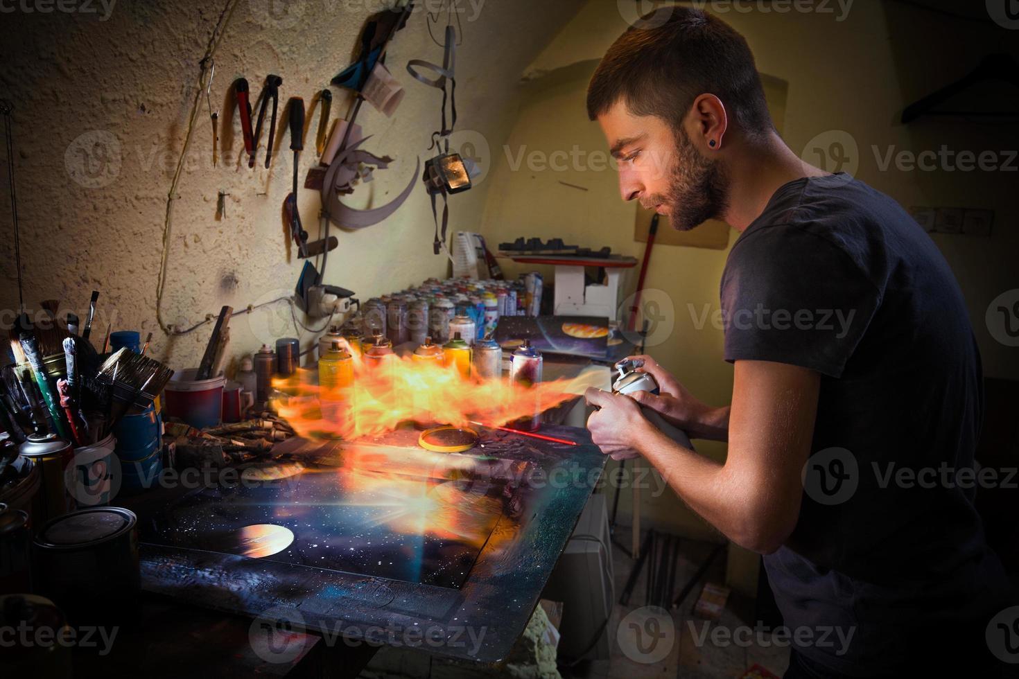 schilderen met vuur foto
