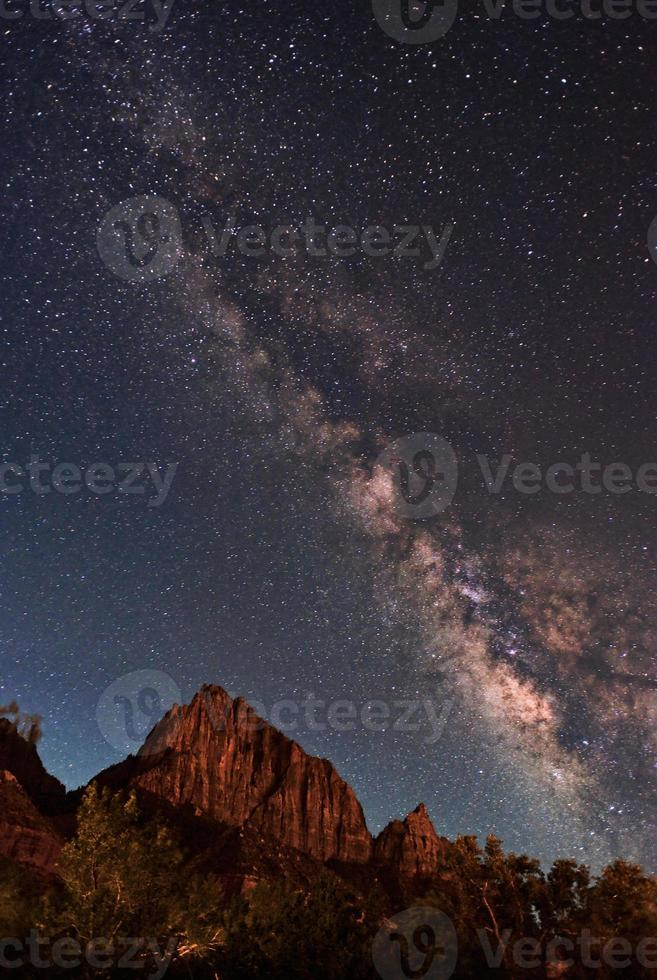 Melkweg over Zion National Park foto