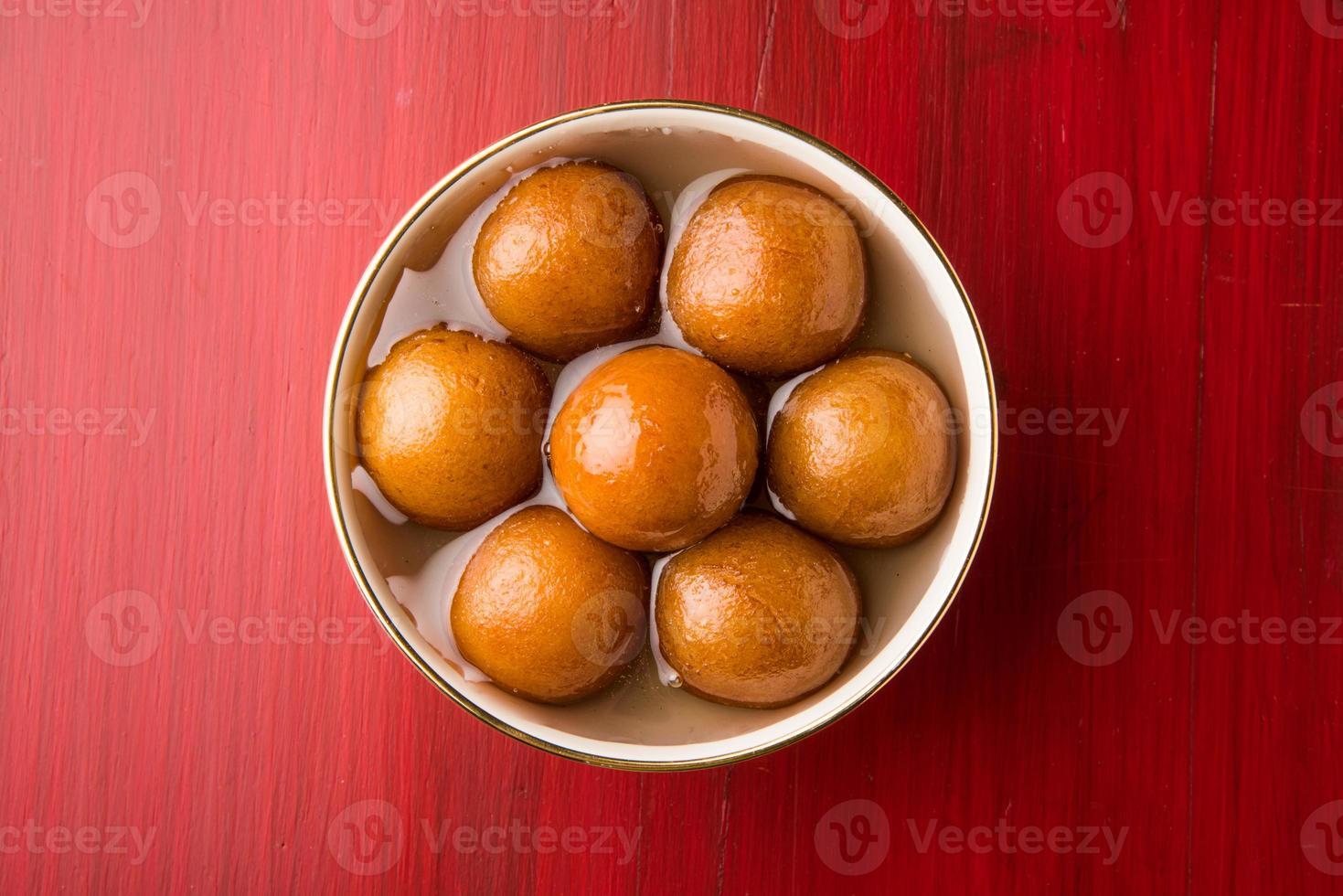 close-up van gulab jamun / Indische snoepjes foto