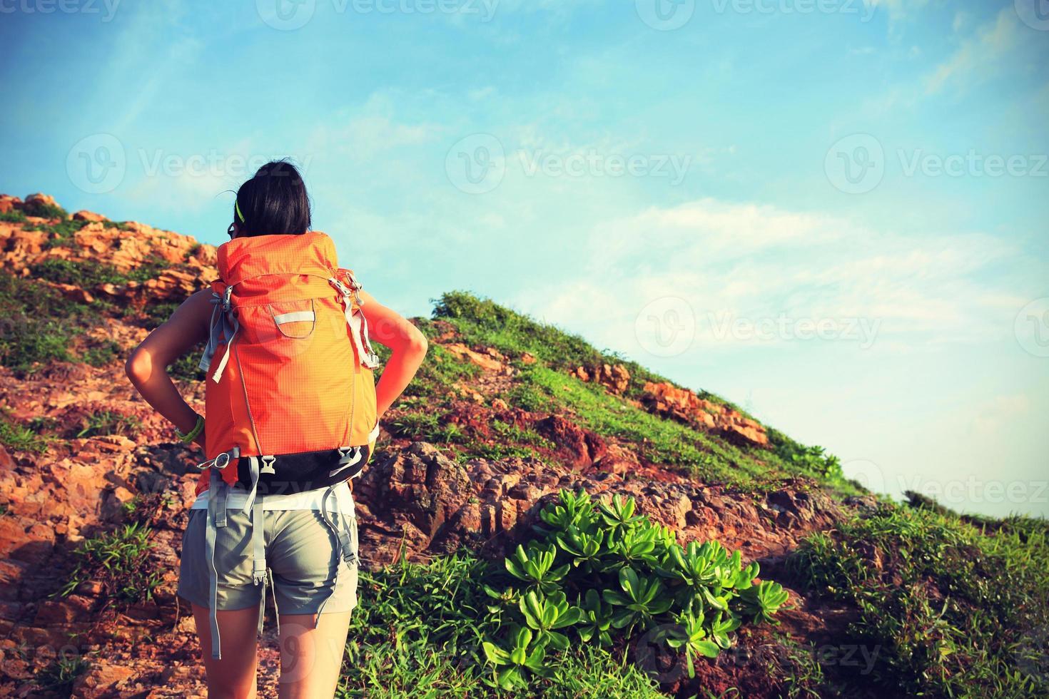 jonge vrouw backpacker klimmen naar bergtop foto