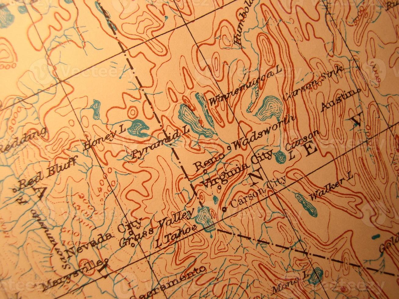antieke kaart, Lake Tahoe Area foto